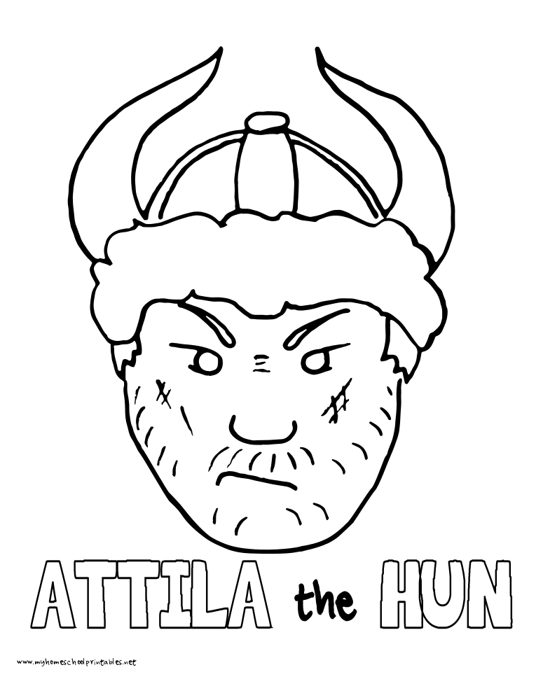 World History Coloring Pages Printables Attila the Hun