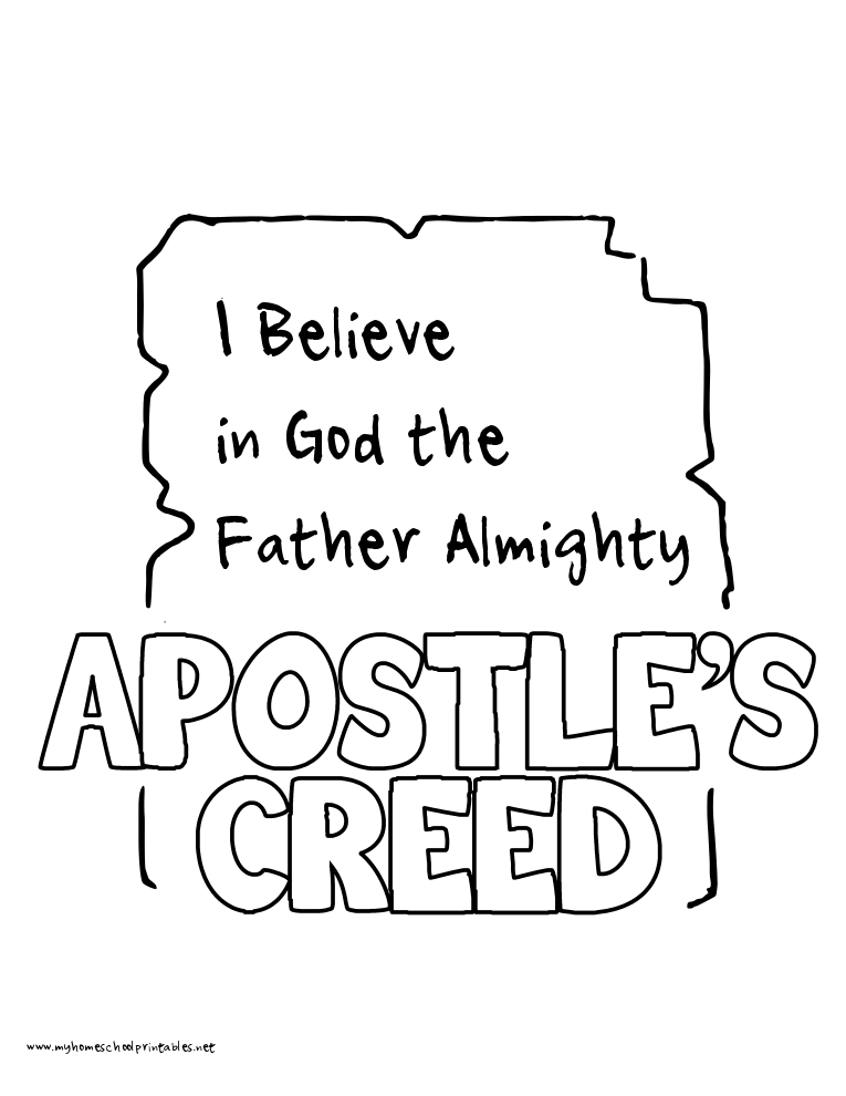 World History Coloring Pages Printables Apostles Creed