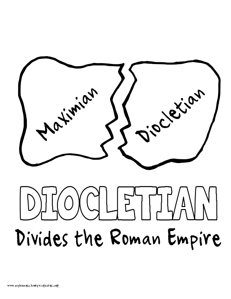 World History Coloring Pages Printables Diocletian Divides the Empire