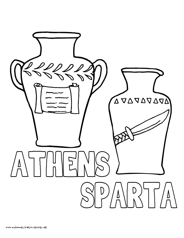 World History Coloring Pages Printables Athens and Sparta Pots