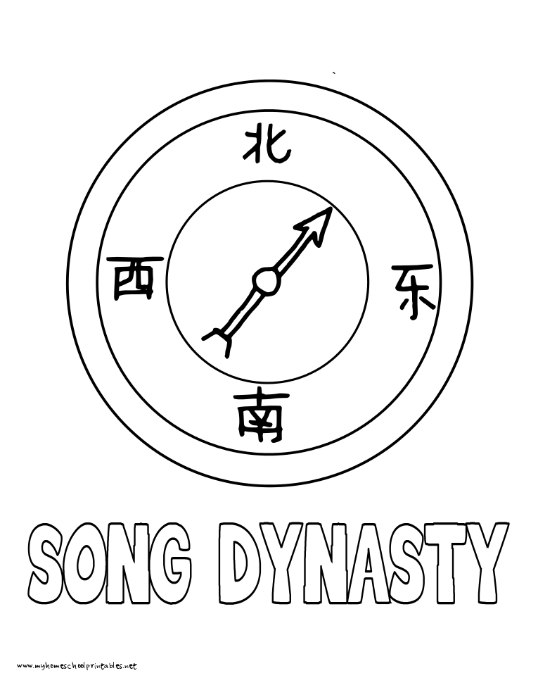 World History Coloring Pages Printables Song Dynasty Compass
