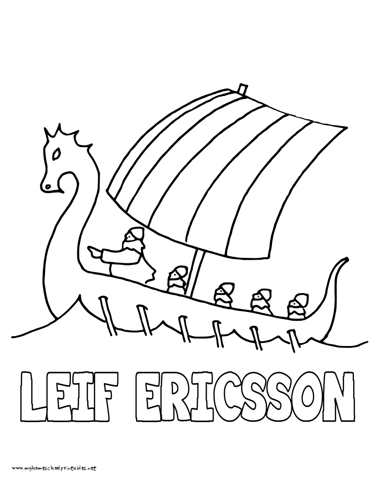 World History Coloring Pages Printables Leif Ericsson
