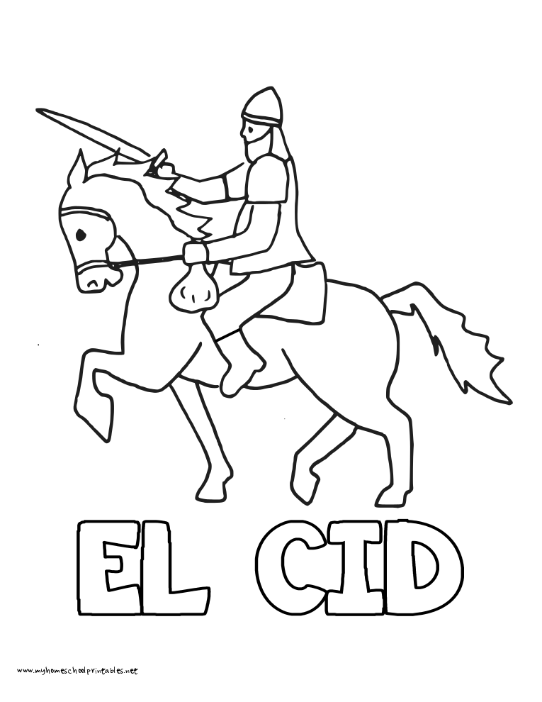 World History Coloring Pages Printables El Cid