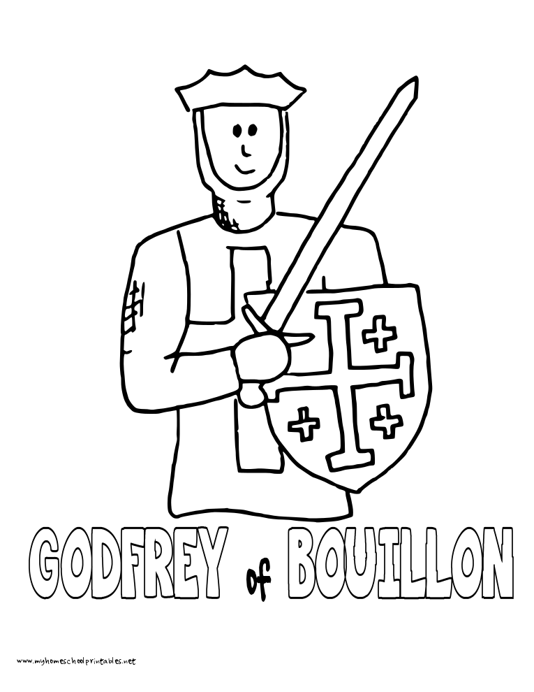 World History Coloring Pages Printables Godfrey of Bouillon