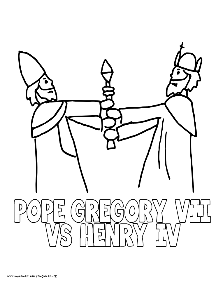 world history coloring pages printables pope gregory and king henry iv