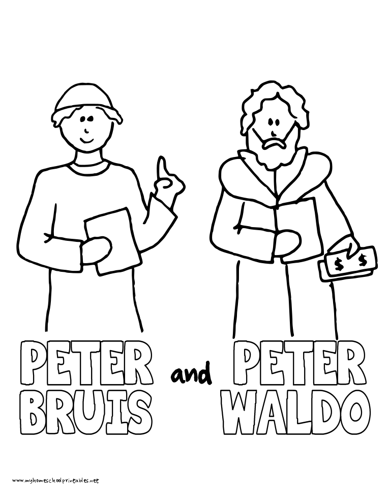 World History Coloring Pages Printables Peter Bruis and Peter Waldo