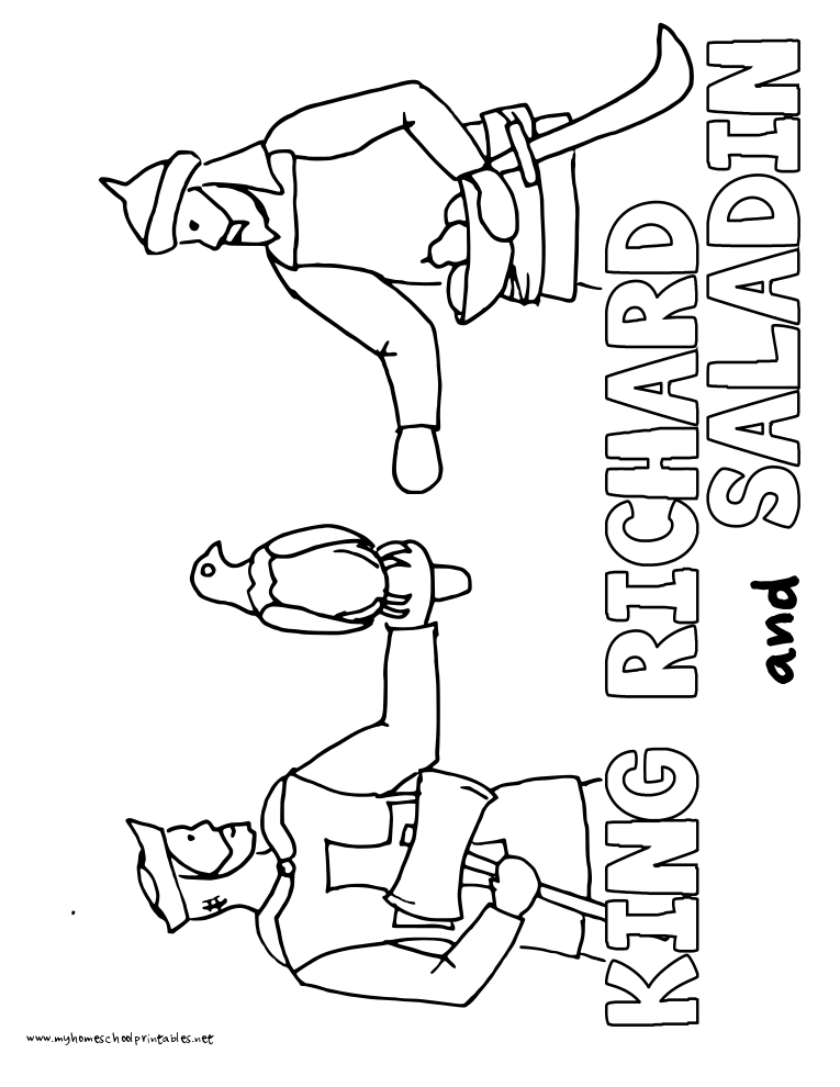 World History Coloring Pages Printables King Richard the Lionheart and Saladin