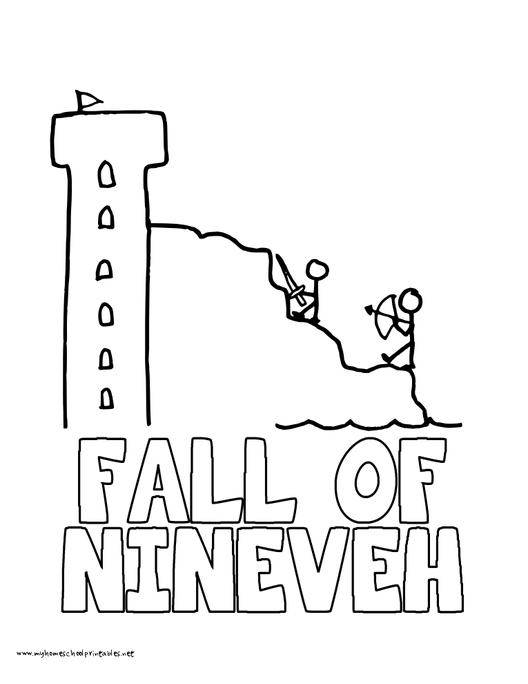 World History Coloring Pages Printables Fall of Nineveh