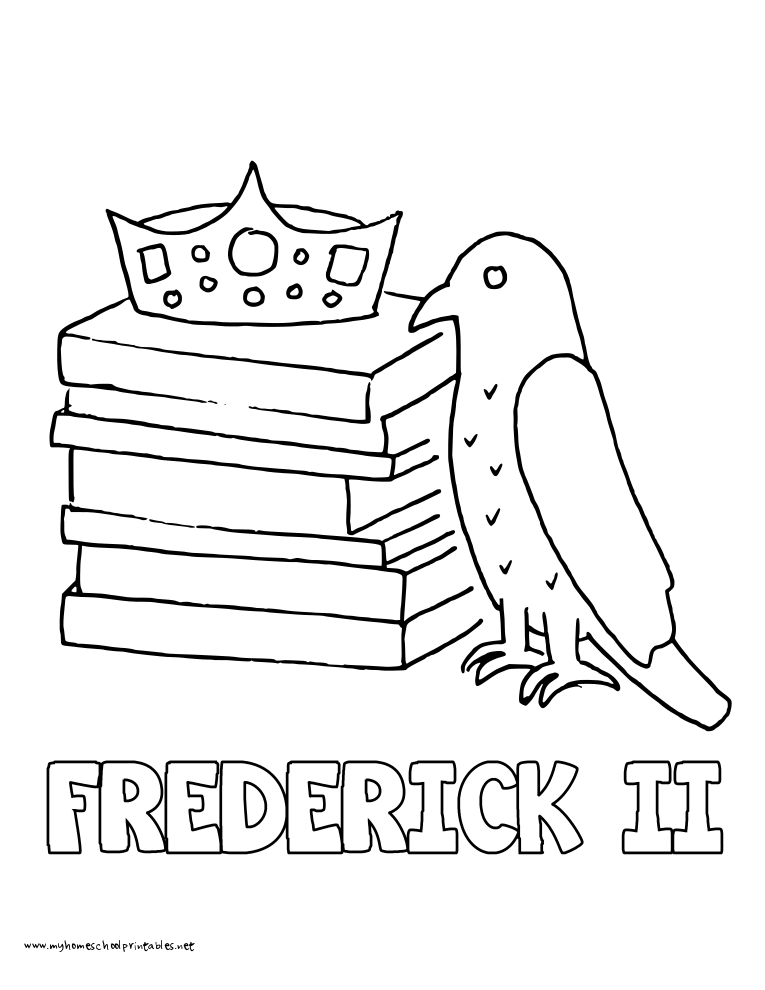 World History Coloring Pages Printables King Frederick II