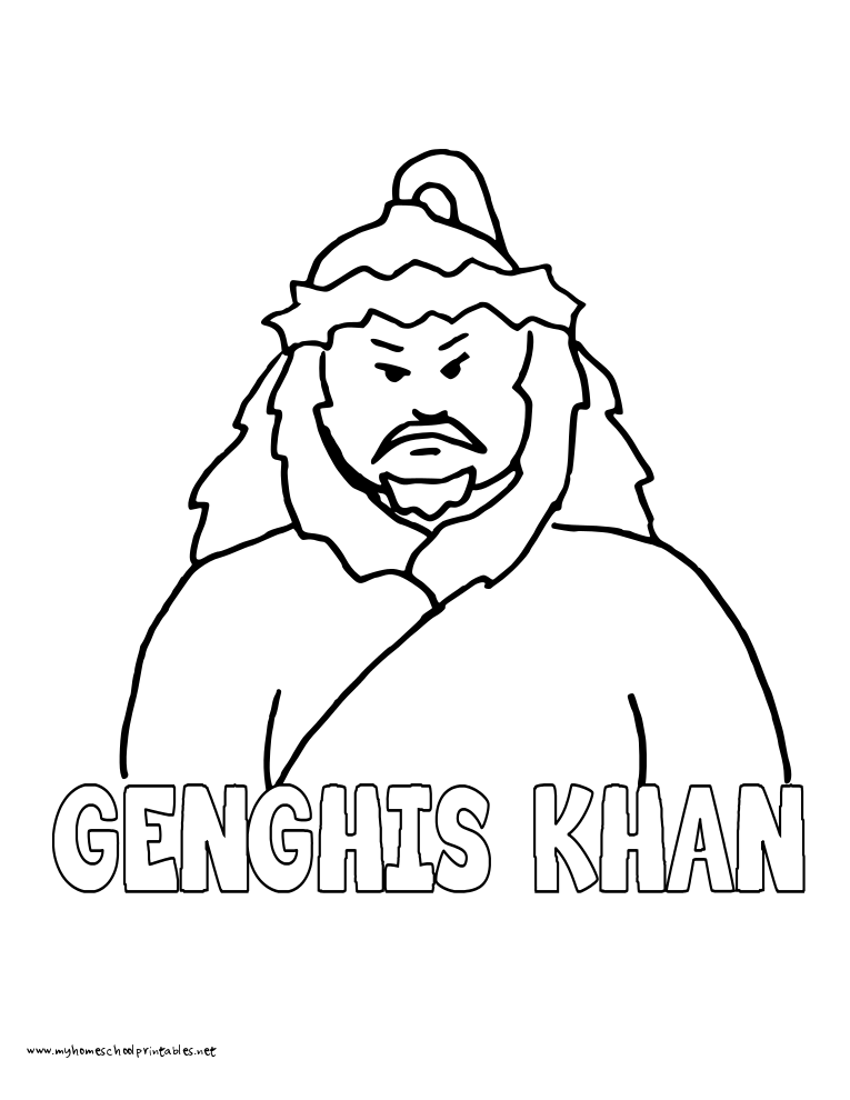 World History Coloring Pages Printables Genghis Khan