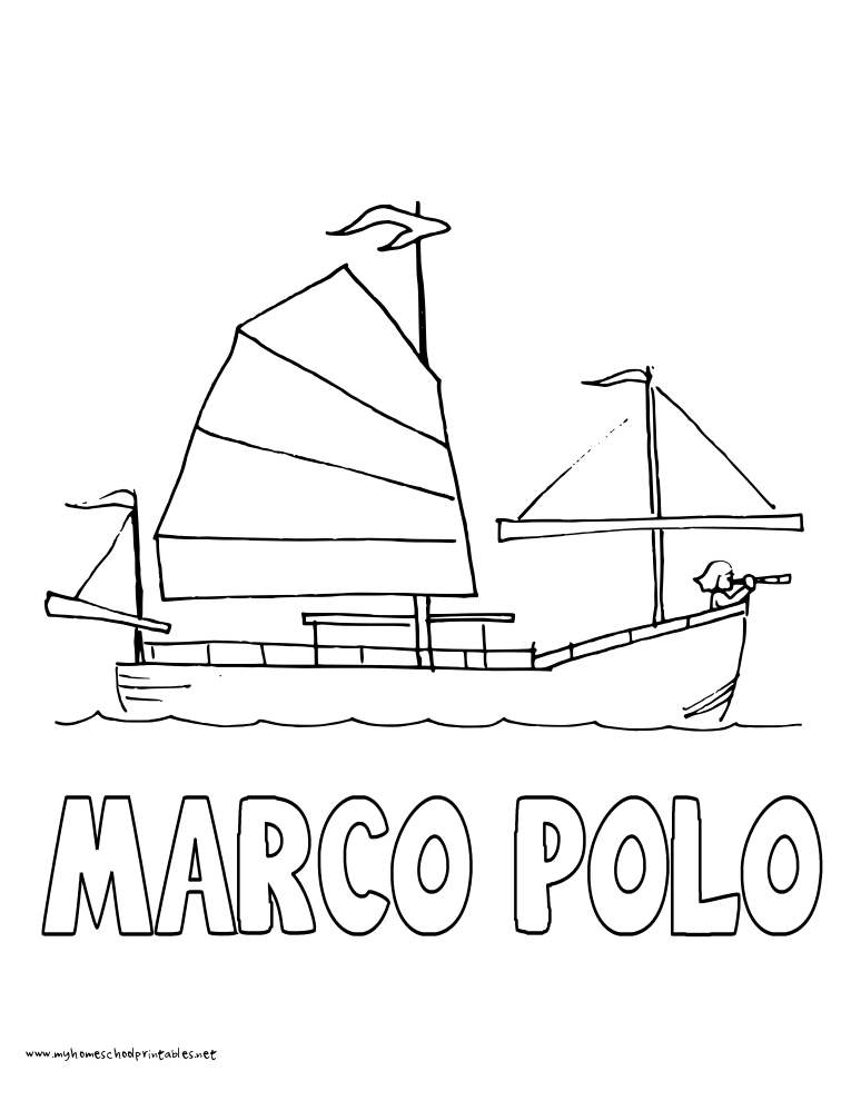 World History Coloring Pages Printables Marco Polo Sails in a Junk