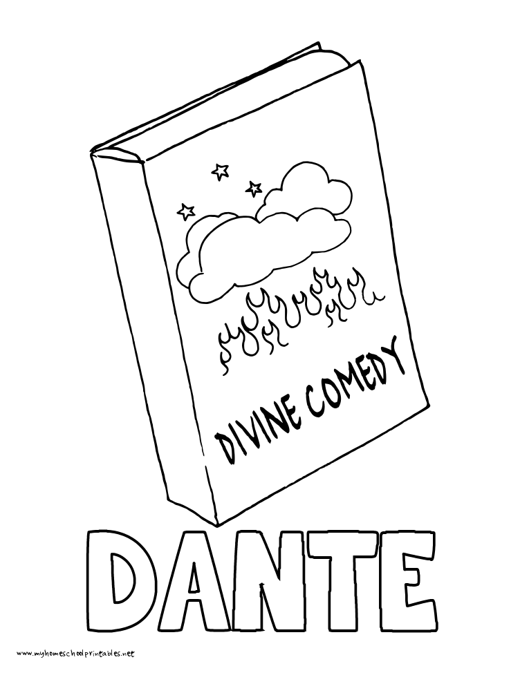 World History Coloring Pages Printables Dante's Divine Comedy