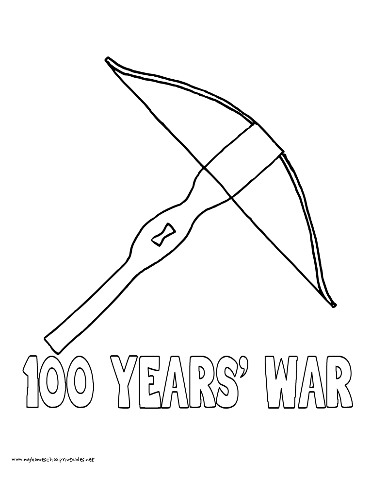 World History Coloring Pages Printables Hundred Years War Crossbow