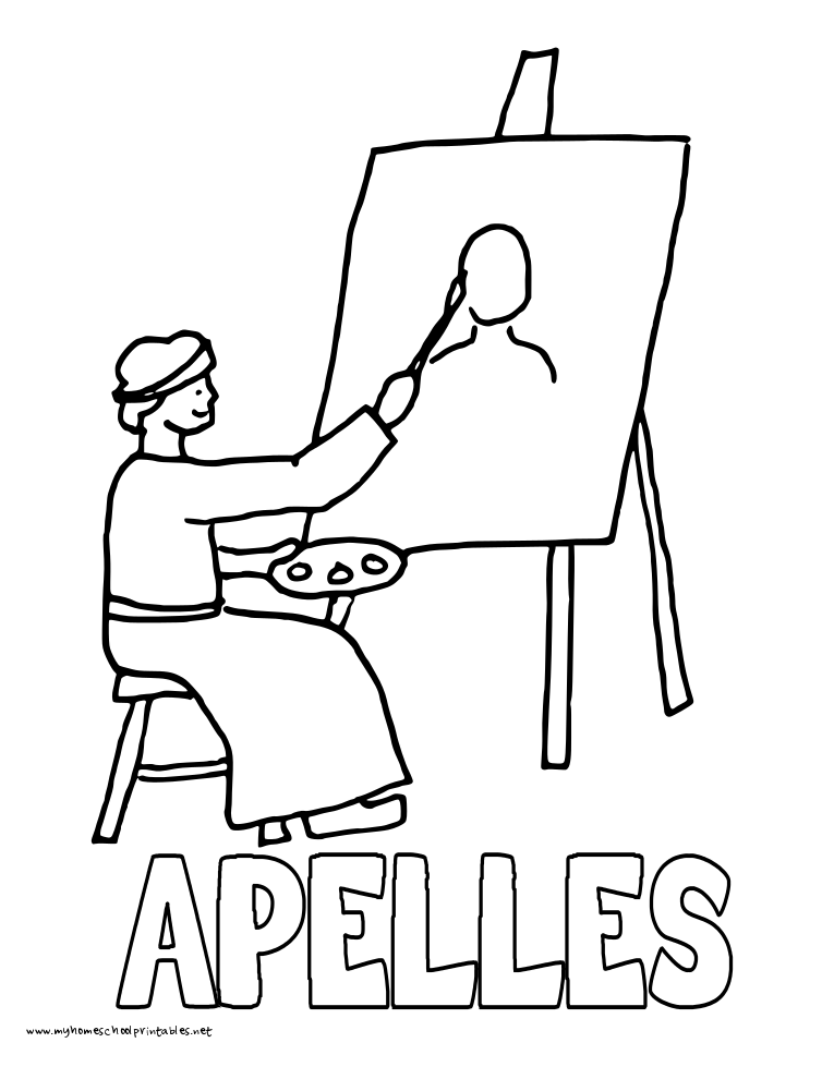 World History Coloring Pages Printables Apelles paints Alexander the Great