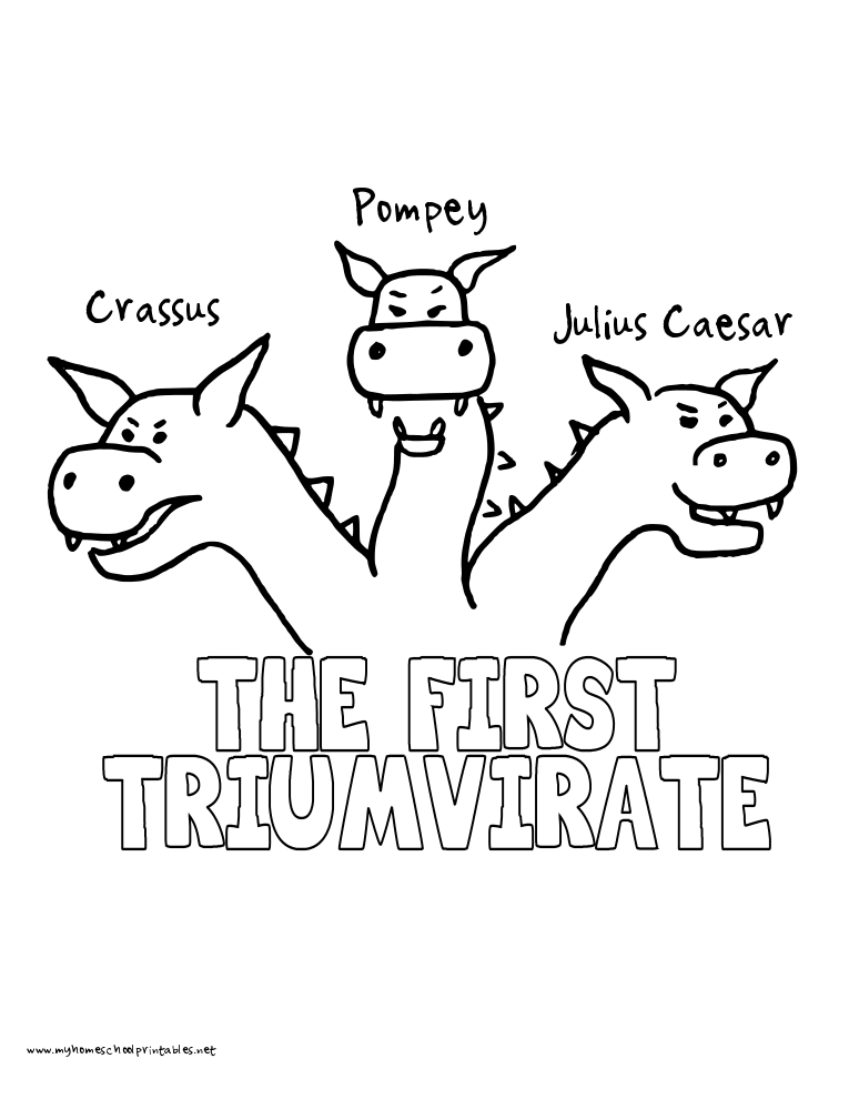 World History Coloring Pages Printables First Triumvirate