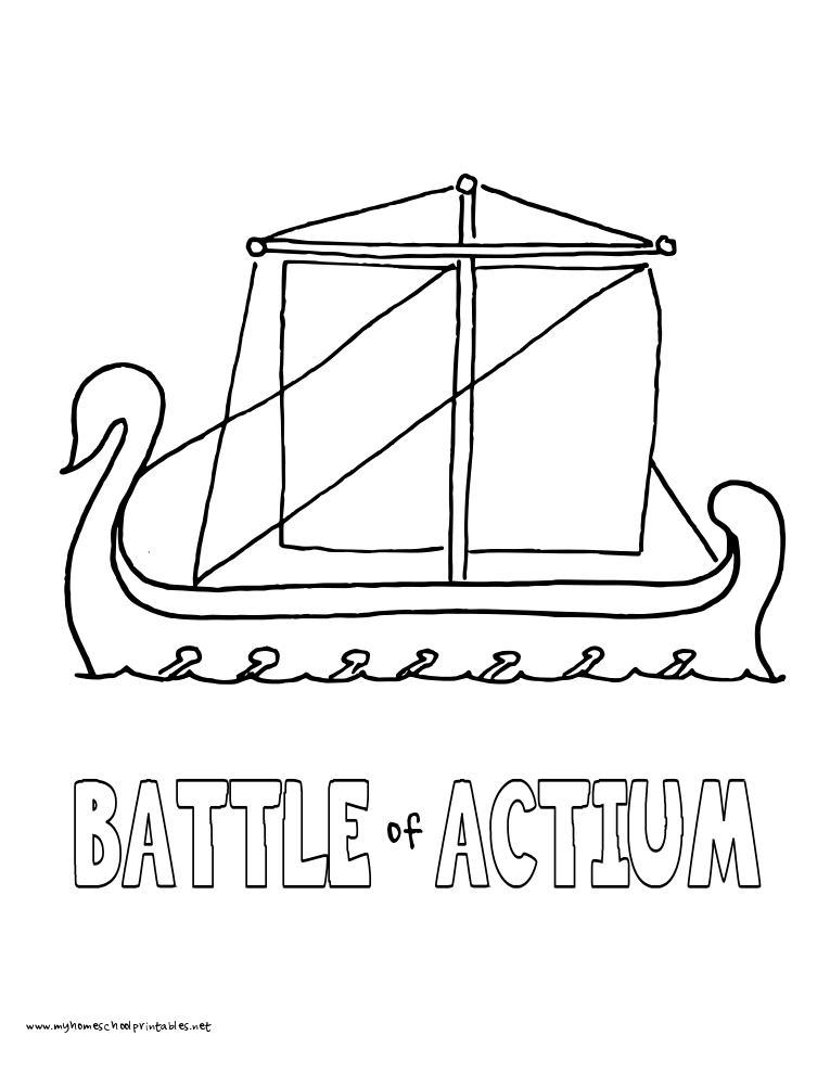World History Coloring Pages Printables Battle of Actium