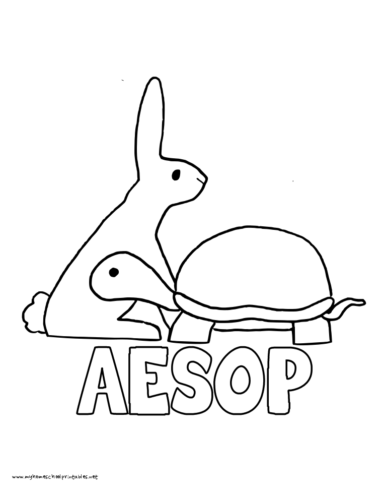 World History Coloring Pages Printables Aesop Tortoise and the Hare
