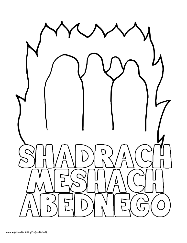 My Homeschool Printables History Coloring Pages Volume 1 Shadrach Meshach And Abednego Coloring Page
