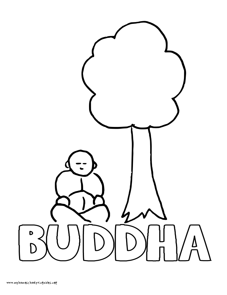 World History Coloring Pages Printables Buddha Under a Tree