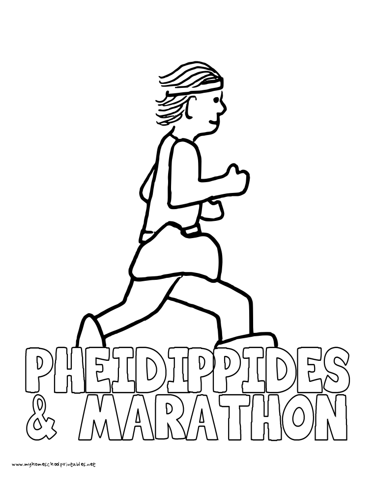 World History Coloring Pages Printables Marathon and Pheidippides
