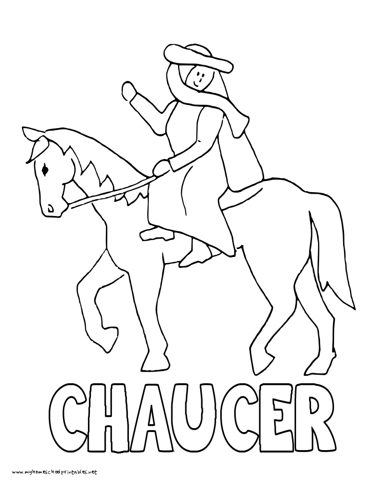 World History Coloring Pages Printables Chaucer and Canterbury Tales