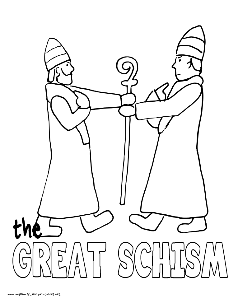 World History Coloring Pages Printables the Great Schism
