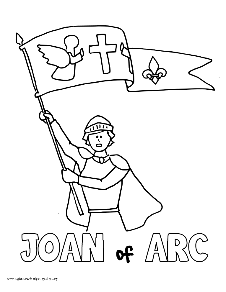 World History Coloring Pages Printables Joan of Arc Maiden of Orleans
