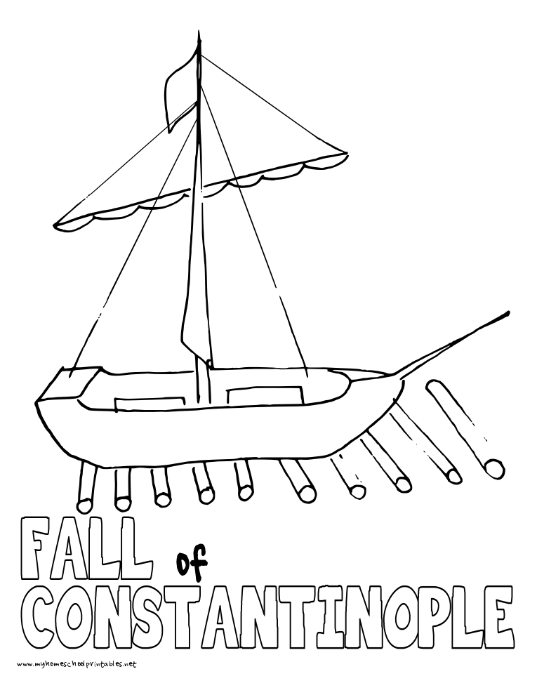 World History Coloring Pages Printables Fall of Constantinople
