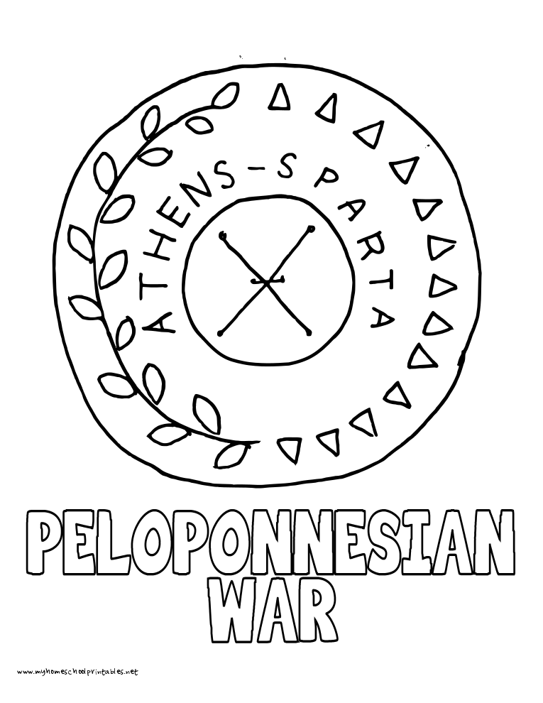 World History Coloring Pages Printables Peloponnesian War Shield
