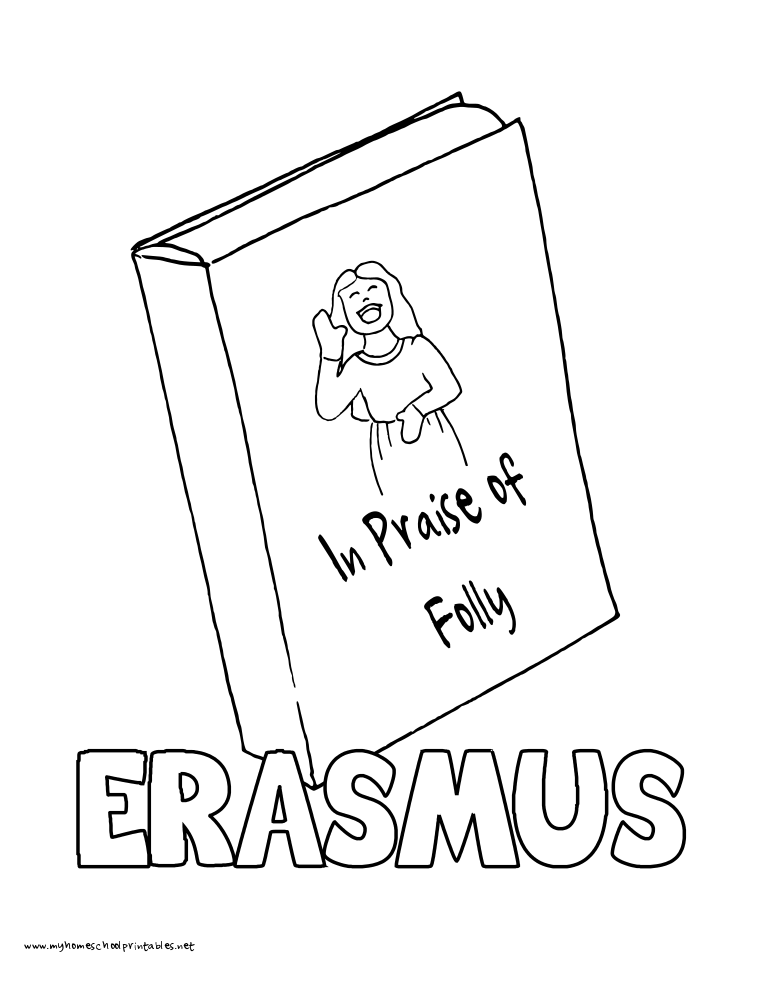 World History Coloring Pages Printables Desiderius Erasmus In Praise of Folly