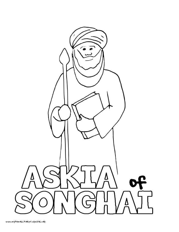 World History Coloring Pages Printables Askia Muhammad 1 Songhai Empire