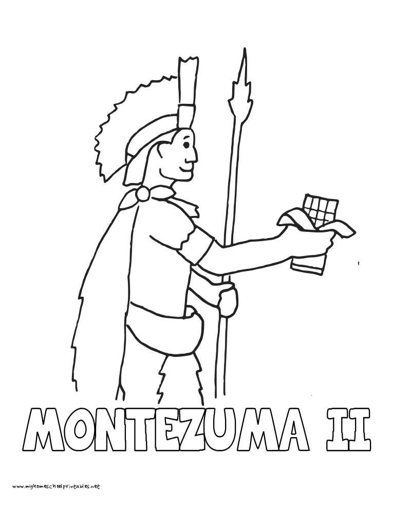World History Coloring Pages Printables Montezuma II with Chocolate
