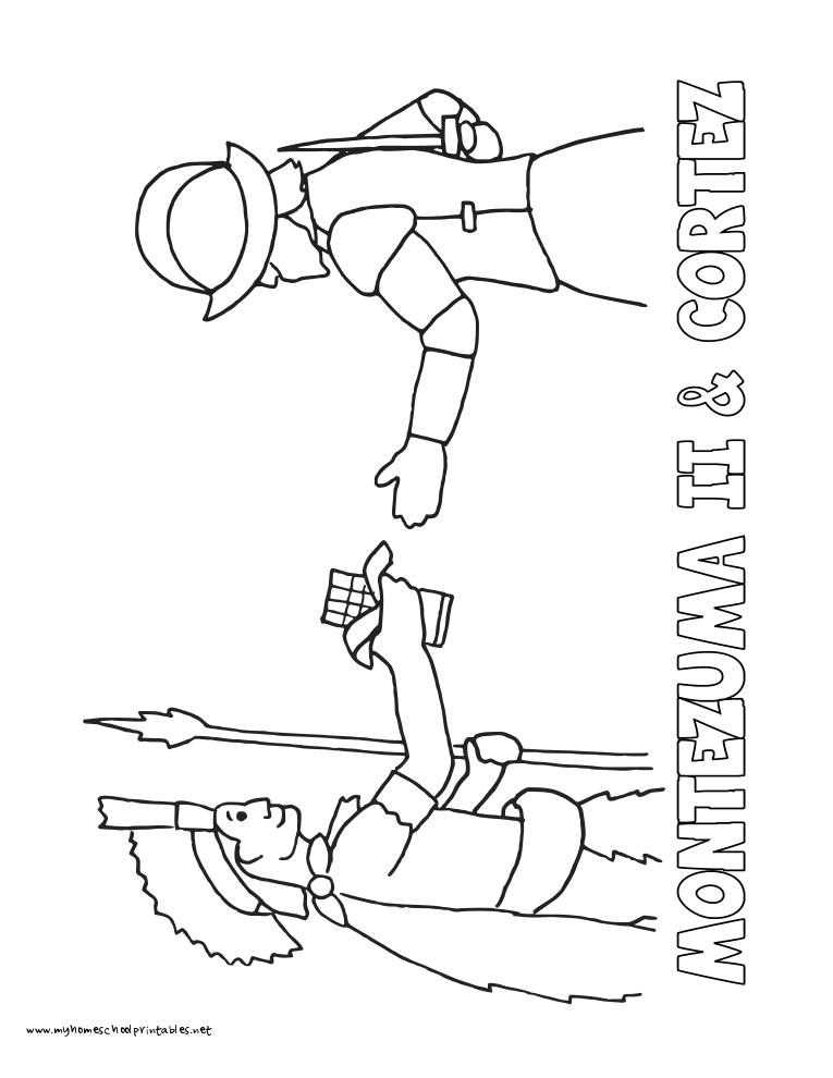 World History Coloring Pages Printables Montezuma II with and Hernan Cortez