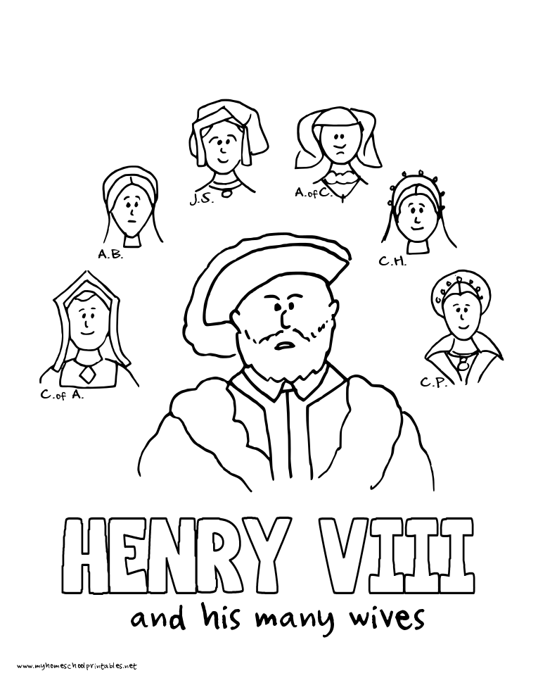 World History Coloring Pages Printables Henry VIII And His Wives