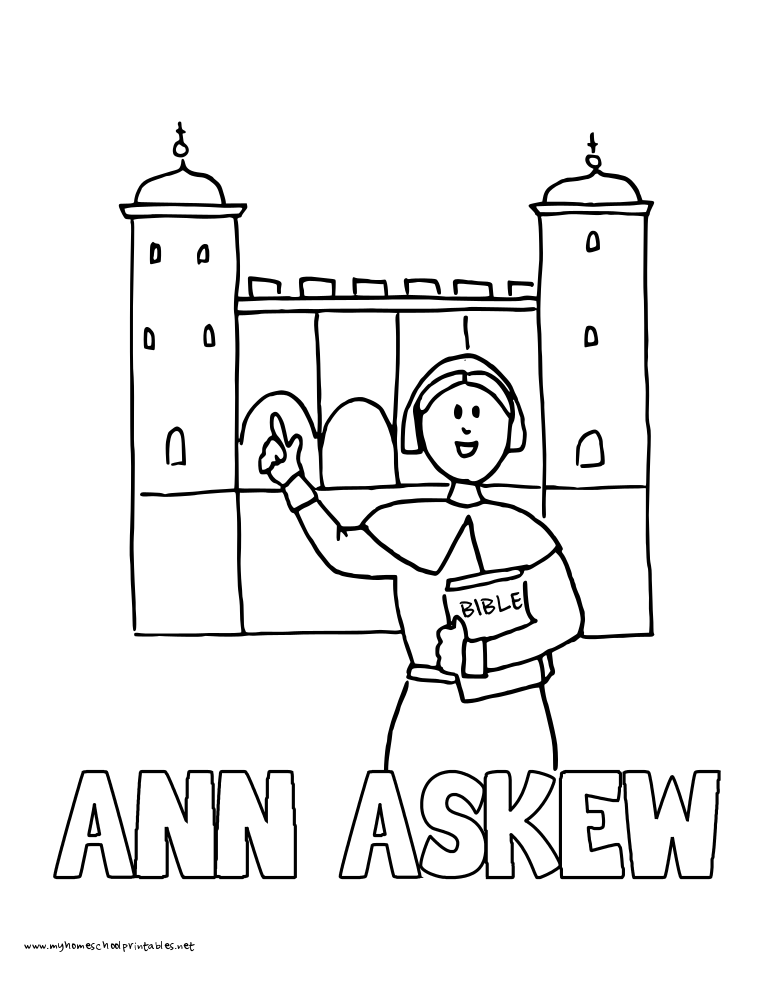 World History Coloring Pages Printables Ann Askew in front of London Tower