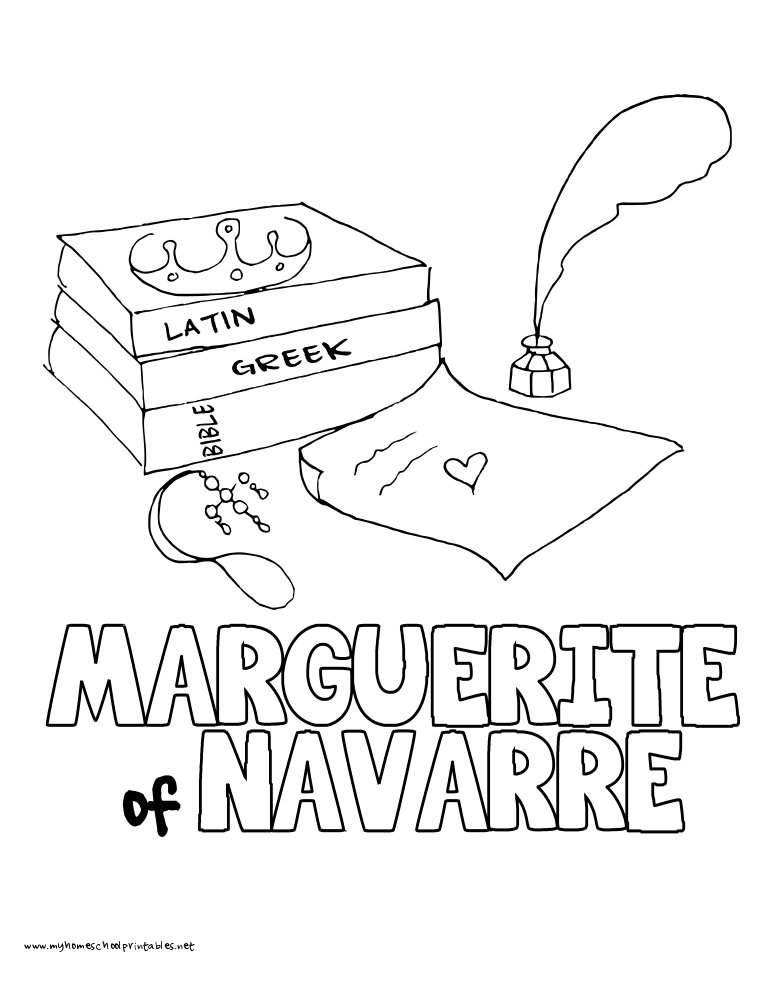 World History Coloring Pages Printables Queen Marguerite of Navvare