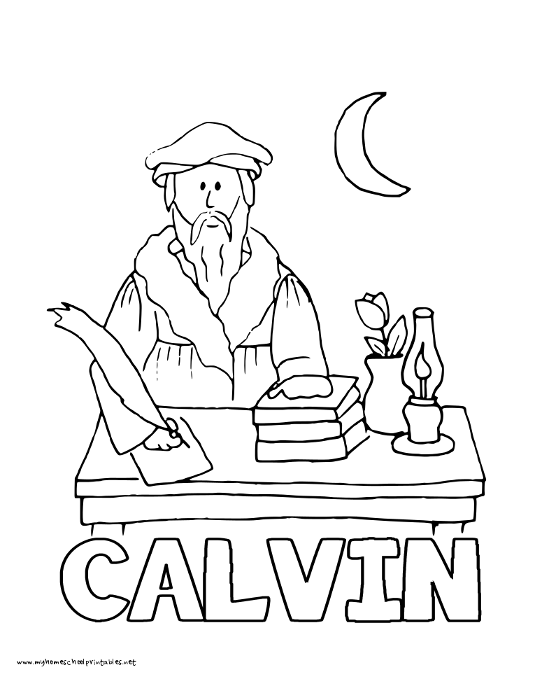 World History Coloring Pages Printables John Calvin