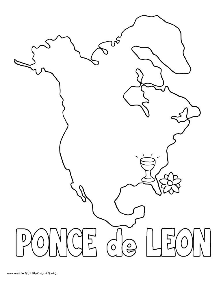 World History Coloring Pages Printables Ponce de Leon Explores America Florida