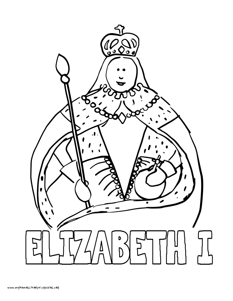 world history coloring pages printables queen elizabeth - Coloring Page Queen