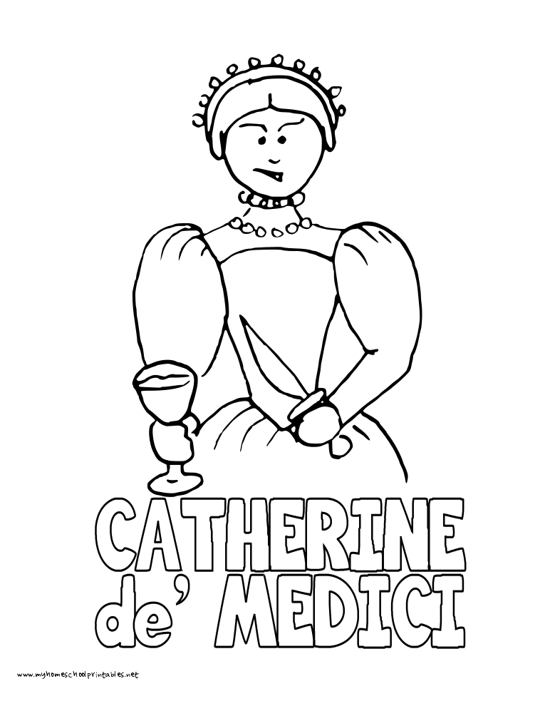 World History Coloring Pages Printables Catherine de Medici