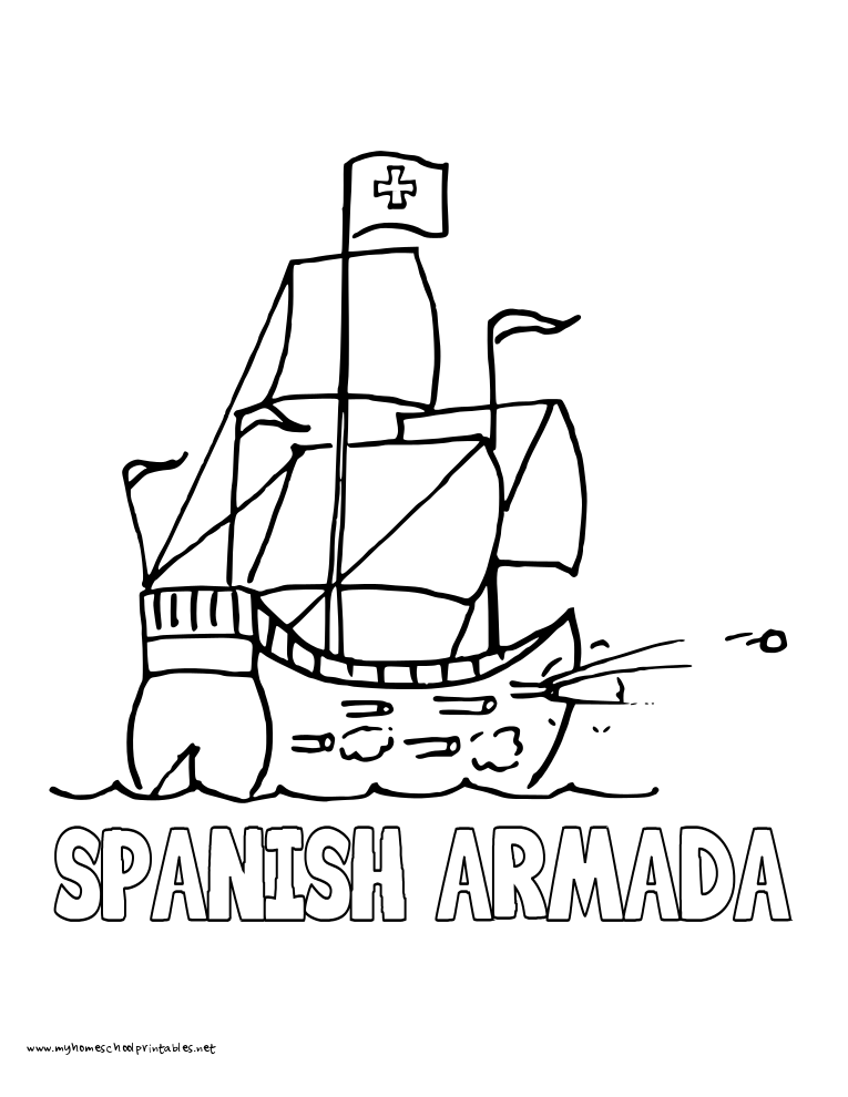 world history coloring pages printables spanish armada