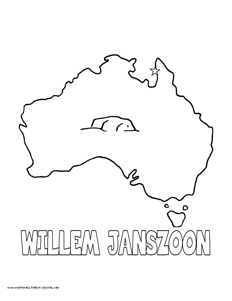 World History Coloring Pages Printables Janszoon Discovers Australia