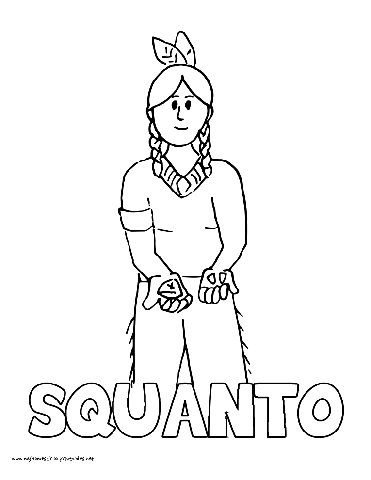 World History Coloring Pages Printables Squanto