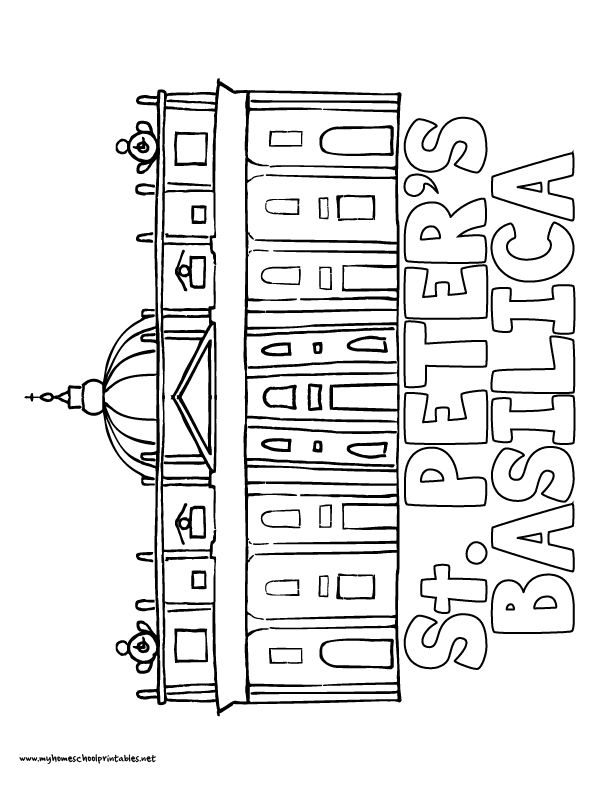 World History Coloring Pages Printables St. Peter's Basillica