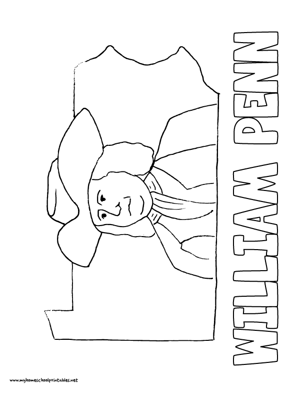 World History Coloring Pages Printables William Penn and Pennsylvania
