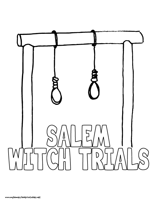 World History Coloring Pages Printables Salem Witch Trials