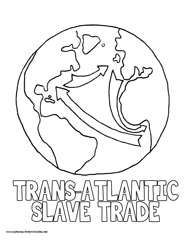 World History Coloring Pages Printables Trans Atlantic Slave Trade Route