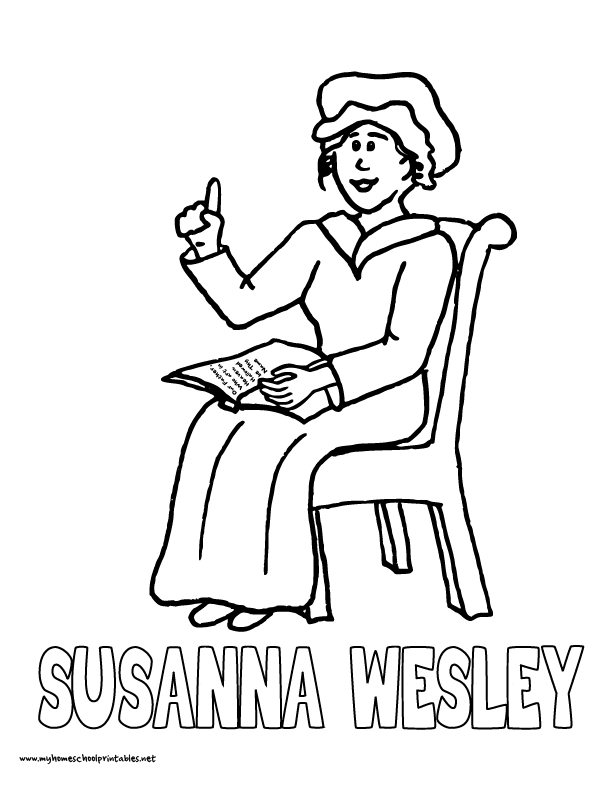 World History Coloring Pages Printables Susanna Wesley