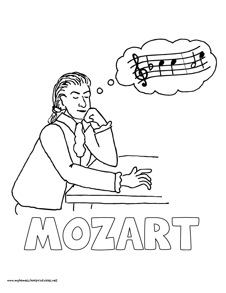 World History Coloring Pages Printables Mozart