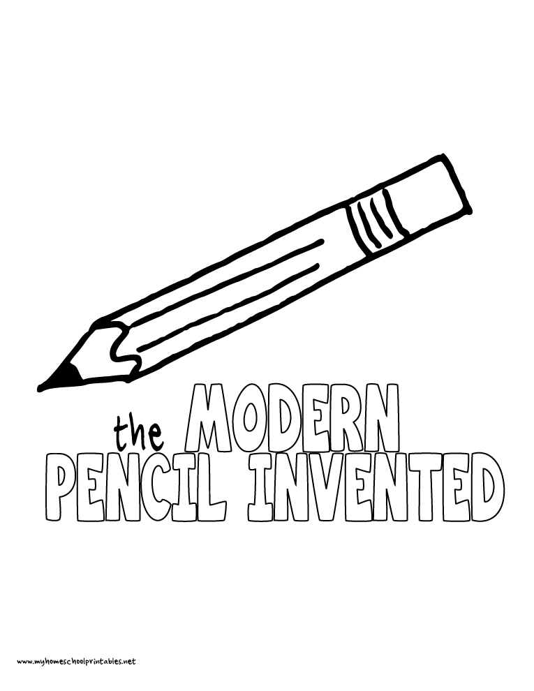 World History Coloring Pages Printables Modern Pencil Invented